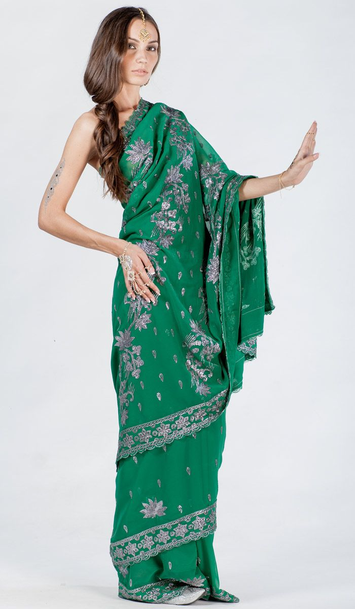 Индийское сари из шифона, зеленое сари из Индии, Indian sari, saree, green sari from India. 15 800 рублей