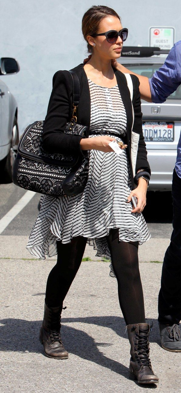 Black and white is always chic and flattering when pregnant. #maternity/ I would pair it with different shoes!!