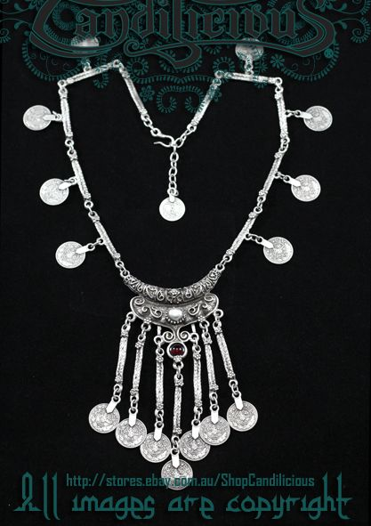 Tribal coin necklace Silver plated pewter. ShopCandilicious on eBay
