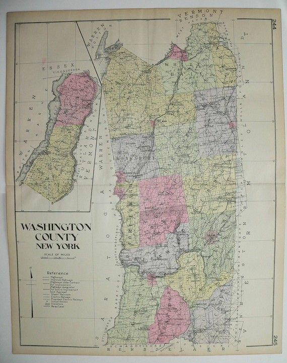 Antique Washington County NY Map Large Map New York County Vintage Map 1912 Whitehall Hudson Falls History Genealogy Special Gift for Office by OldMapsandPrints on Etsy