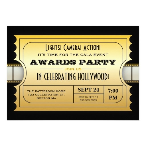 Annual Movie Awards Party Golden Ticket Invitations