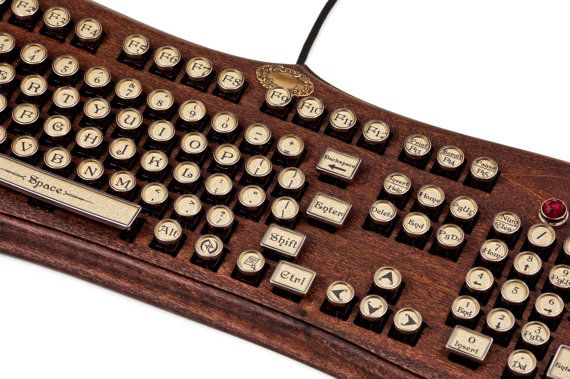 The Diviner Keyboard - Datamancer Wooden Steampunk Keyboard Mechanical Typewriter