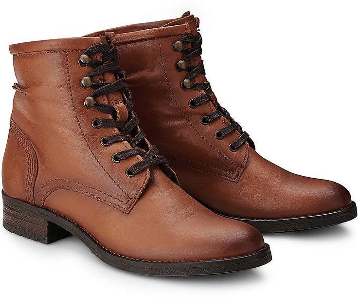 Trend-Allrounder für die neue Mode-Saison! Ob zur Jeans oder zum Kleid, mit dieser Schnür-Stiefellette aus braunem Leder mit lässigen Bergsteiger-Ösen liegen sie immer richtig