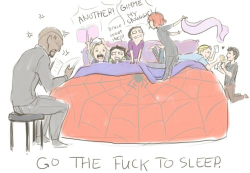 omfg yes, I have discovered I love the avengers as little kids... Hawkeye would have a snuggie! Also baby Thor yelling for another story=awesome.