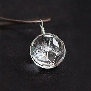 Hot sale Real Dandelion Jewelry Crystal Glass Ball Dandelion Necklace Long Strip Leather Chain Pendant Necklaces For Women