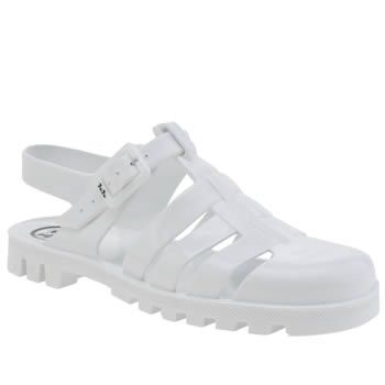 Juju Jellies White Maxi Womens Sandals Are you ready for this jelly? The Maxi jelly shoe from JuJu Jellies is the kind of fisherman sandal that you might remember wearing in childhood. Take a trip down memory lane with this all-white style http://www.MightGet.com/january-2017-13/juju-jellies-white-maxi-womens-sandals.asp