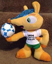 "2014 FIFA World Cup Brazil, Fuleco Mascot - 9"" Plush Toy Armadillo Animal Doll"