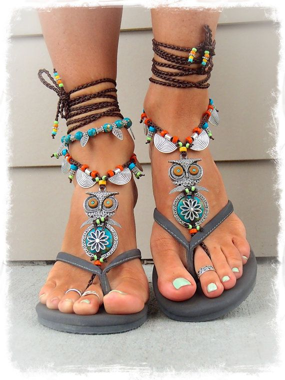 Boho OWL BAREFOOT Sandals cute Owl foot jewelry van GPyoga op Etsy