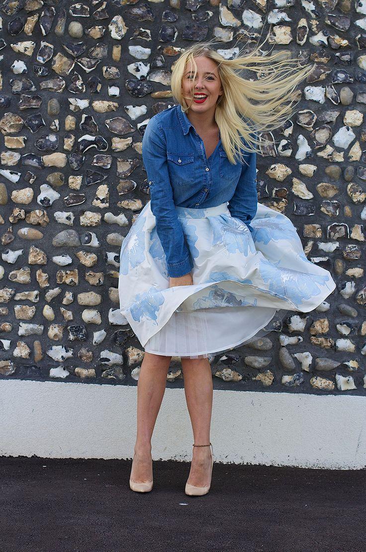 Asos, Denim Shirt Coast, Full midi skirt Daniel Footwear ...