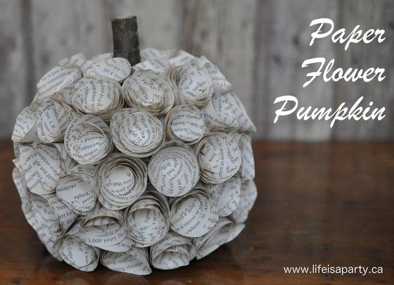 Paper Flower Pumpkin: Use a faux pumpkin and an old book to create this pretty paper flower pumpkin.  Easy instructions to make the paper flowers.  Enjoy this paper flower pumpkin year after year.
