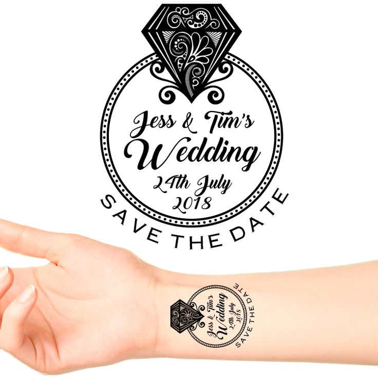Personalised Save The Date Temporary Tattoo #2 (16 pack) Put one of these on each of your guests at your Engagement Party as a Save The Date for your wedding!  Type the date of your wedding in...
