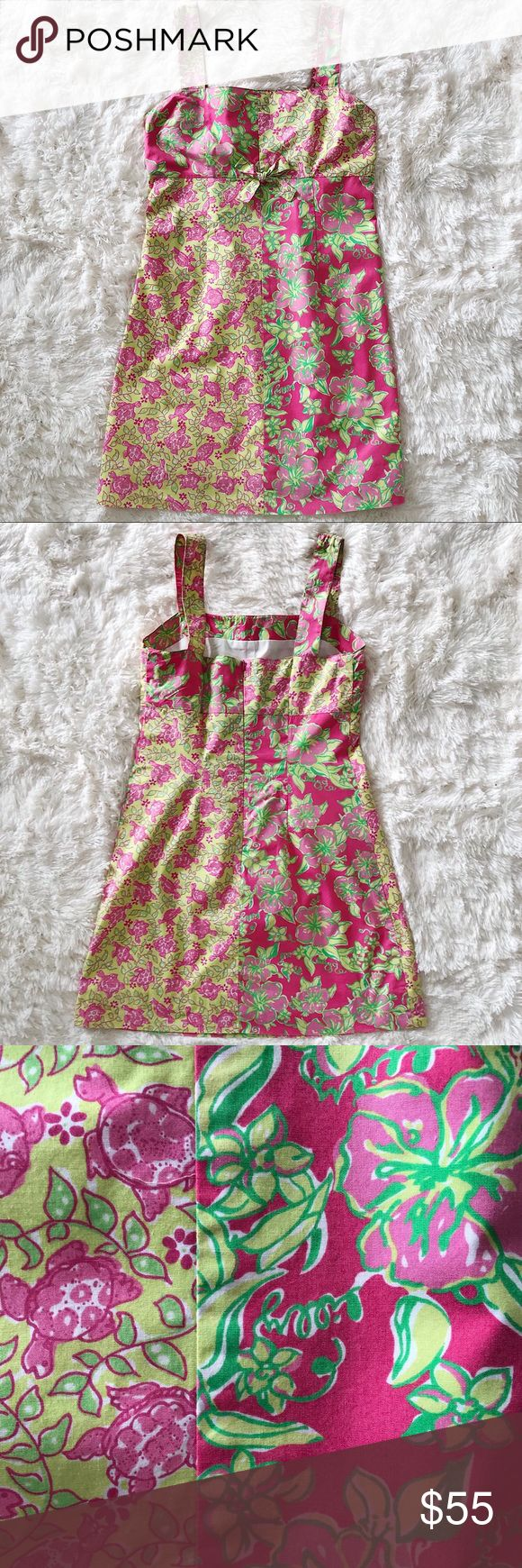 "Lilly Pulitzer pink and green dress Lilly Pulitzer pink and green turtle print dress EUC Size 6 Measurements flat:    Length (top of strap to hem) 32.5""   Underarm to underarm 15.5""   Strap 5.75""  Snap missing on bra strap holder (shown  in picture) Lilly Pulitzer Dresses"
