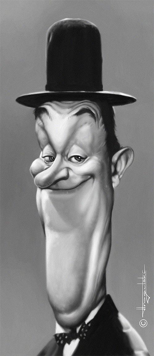 Caricatura de Stan Laurel.