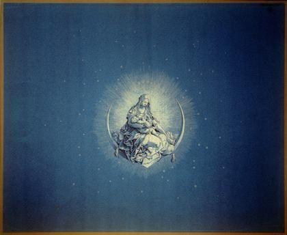 """✨  Karl Friedrich Schinkel, German (1781-1841) - Die Madonna mit dem Christuskind auf der Mondsichel, um 1814/15, nach Albrecht Dürer (1471-1528). Kopie des Titelblatts von Dürers """"Marienleben"""", um 1510). Feder in Schwarz, grau laviert, mit Feder und Pinsel weiß gehöht, Zirkeleinstich, auf blauem Natur-Vergépapier, 53,4 x 65,3 cm"""