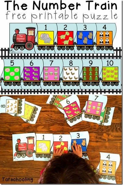 Train Number Puzzles - This free printable puzzle for toddler and preschool kids help kids practice ordering number from 1-10 and counting animals in each train car. So CUTE!