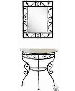 mueble recibidor de hierro forjado con espejo