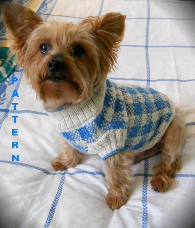 Sunday picnic gingham check dog sweater knitting pattern - Knitted dog sweater patterns ...