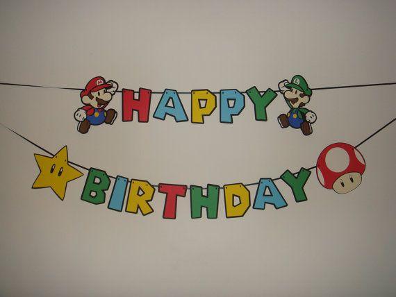 Super Mario Bros happy birthday party banner by TheCutesyShelf, $27.00