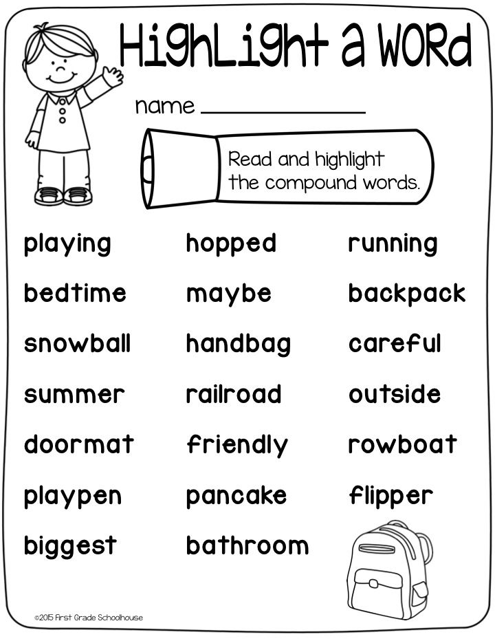 Read the words and highlight the compound words.