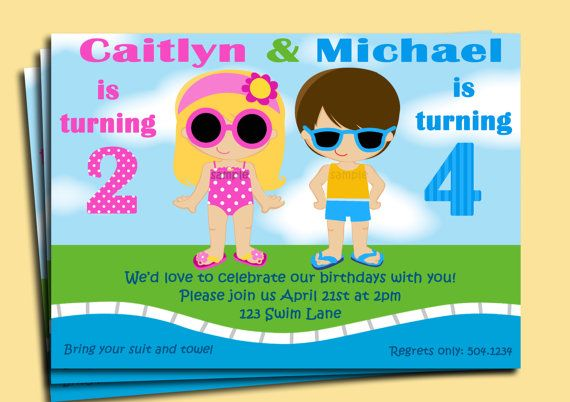 Sibling Pool Party Invitation Printable - You pick boy girl, hair - pool party invitation