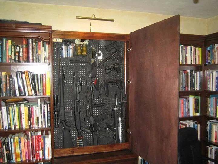 Gun Safe Behind Bookshelf