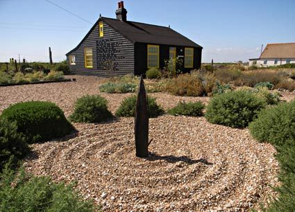 Dungeness, on the south coast of Kent, England - this is the wonderful garden of Prospect Cottage, as Derek Jarman left it