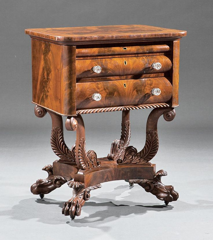 Carved Mahogany Work Table, labeled Quervelle · Wood FurnitureAntique  FurnitureLouisianaPhiladelphiaEmpireAuctionTimber ... - 23 Best Maker - Quervelle, Anthony. Philadelphia, PA Images On