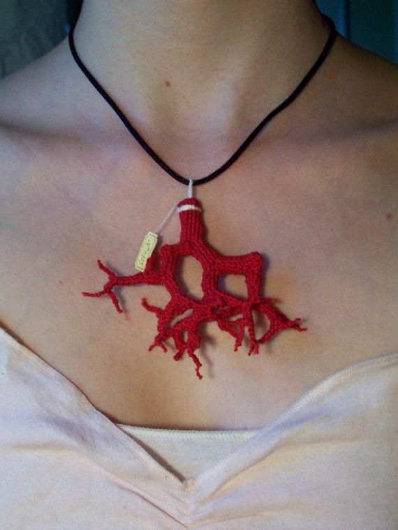 crochet coral pendant