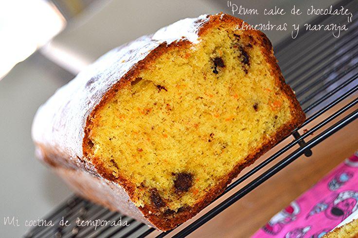 Plum cake de chocolate, almendras y naranja