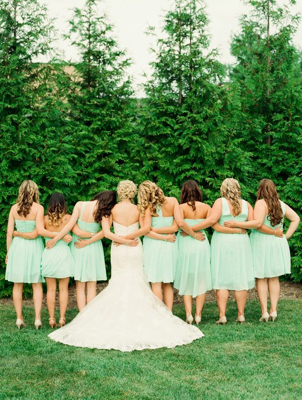 Romantic outdoor wedding-Lindsay Madden Photography- bridesmaids in mint colored dresses