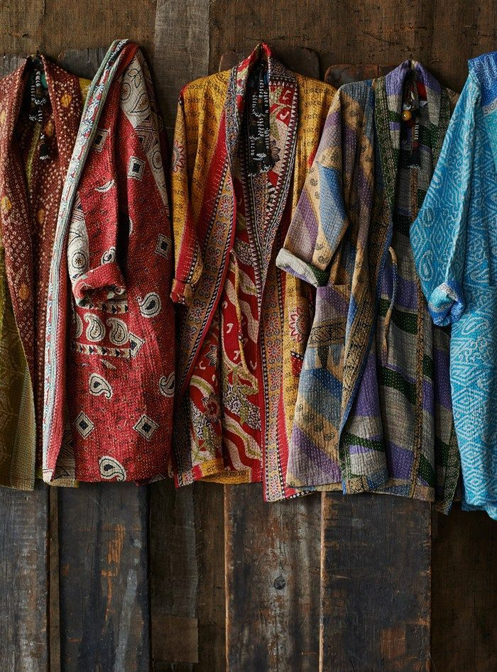 Kantha Gowns from Toast / Unstructured, kantha embroidered gowns made from recycled saris by an Indian cooperative. Each gown is unique, made as they are from a selection of recycled saris of varied pattern and colour.