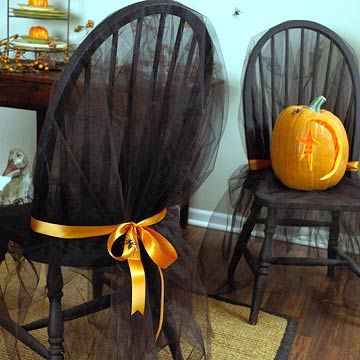 Haunted Chair CoversHalloween Chairs, Halloween Parties, Halloween Decor, Chairs Decor, Black Tulle, Halloweendecor, Chairs Covers, Halloween Ideas, Halloween Diy