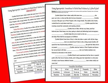 Make transition words less tricky for your students wit this 30-45 minute activity! After reading Best Wishes by Cynthia Rylant, students may retell her autobiography with appropriate transition words and phrases. The transition word bank includes 15 common transition words that show sequence (time order), give an example, prove, and conclude.
