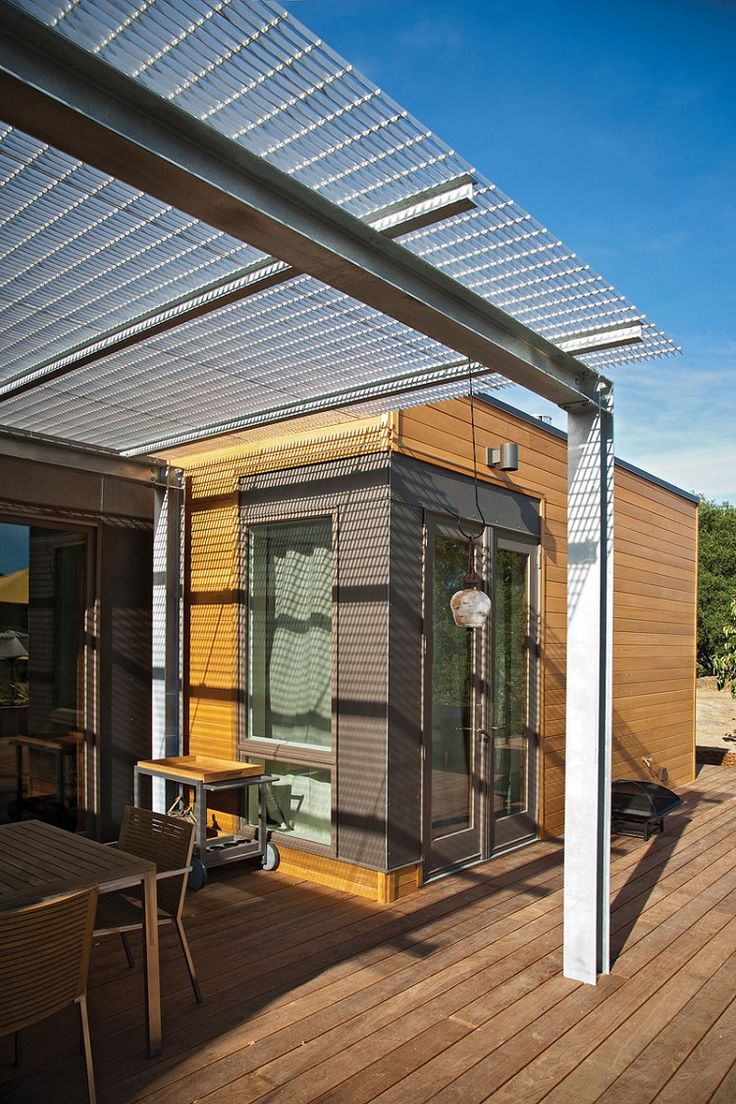 Minimalist Wooden Villa with Peace Nuance : Amazing Patio With Shady Metal Sheetroofing