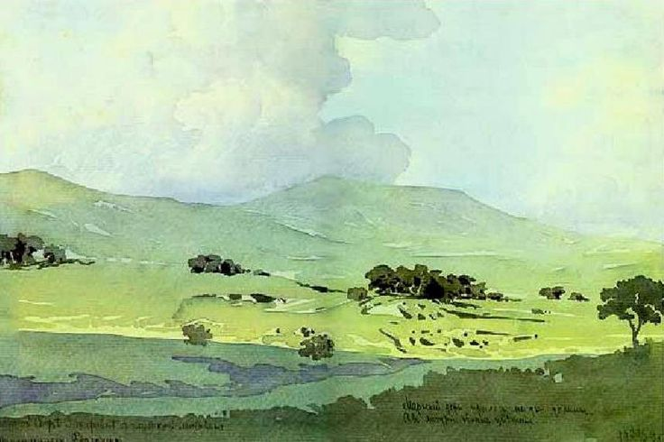 Maximilian Voloshin (1878 — 1932, Russia) The bottom of valley. 1925 watercolor.