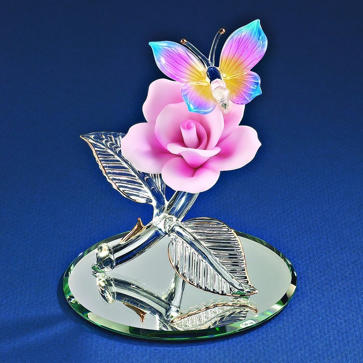 Glass Baron Butterfly with Pink Rose