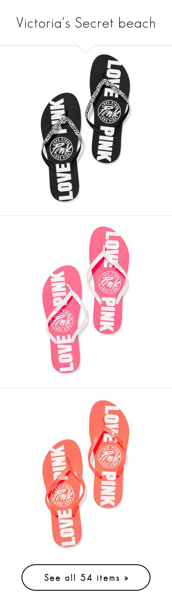 """""""Victoria's Secret beach"""" by dancer11forever ❤ liked on Polyvore featuring shoes, sandals, flip flops, pink, vs, pink sandals, pink flip flops, pink shoes, victoria's secret and victoria secret pink flip flops"""