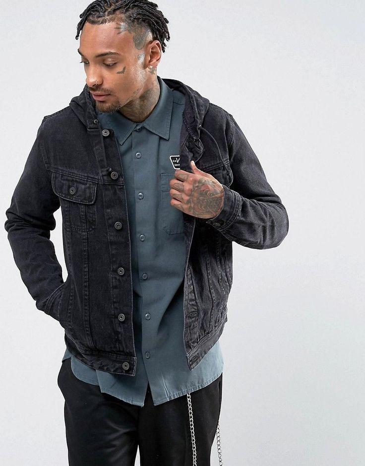 ASOS Hooded Denim Jacket in Black - Black   Products ...