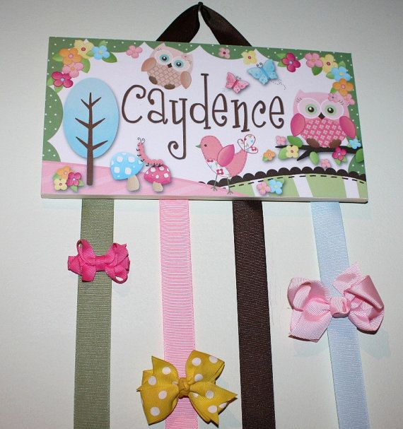 HAIR BOW HOLDER - Personalized Sweet Little Owl HairBow Holder - Bows and Clippies Organizer - Girls Personal Hair Bow and Clip Hanger on Etsy, $22.00