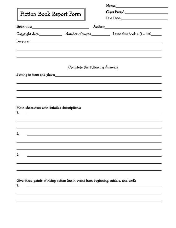 book report template 5th grade pdf 12  templates example