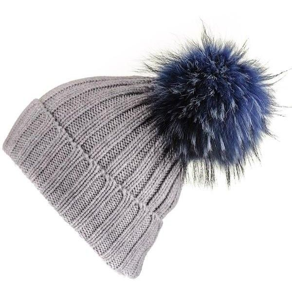 6cc6f6441223fc Black Grey Cashmere Beanie with Navy Fur Pom Pom (775 AED) ❤ liked on Polyvore  featuring accessories, hats, slouch hat, black beanie, navy hat, slouchy hat  ...