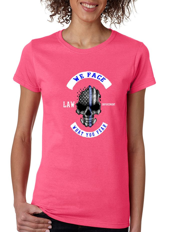 Women's T Shirt We Face What You Fear Amrican Flag Skull