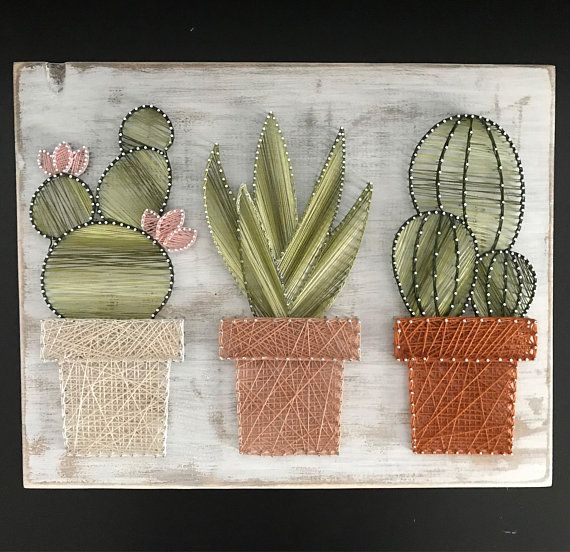 Shabby Chic Cactus Garden String Art • farmhouse decor • rustic • cactus • succulent • Wall art • white washed • string art