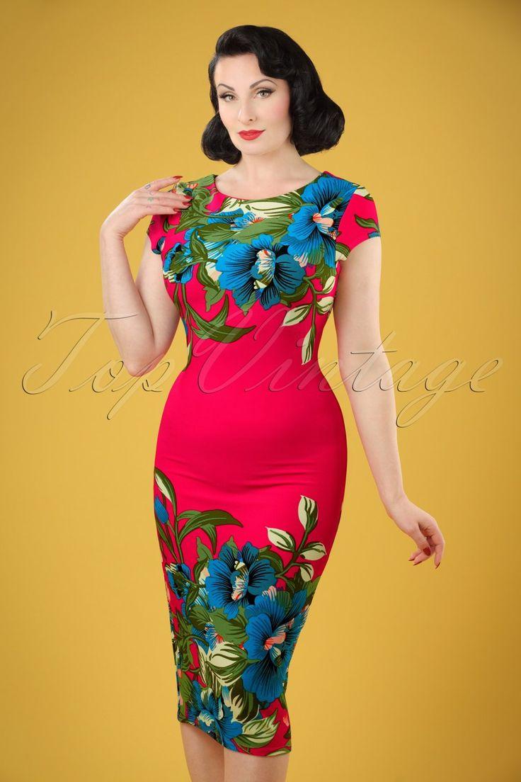 Retro Tiki, Tropical, Hawaiian Style Dresses 60s Aloha Tropical Garden Short Sleeves Pencil Dress in Hot Pink £34.94 AT vintagedancer.com