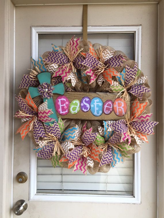 Easter Chevron Burlap Wreath with Cross by SignsBYDebbieHess