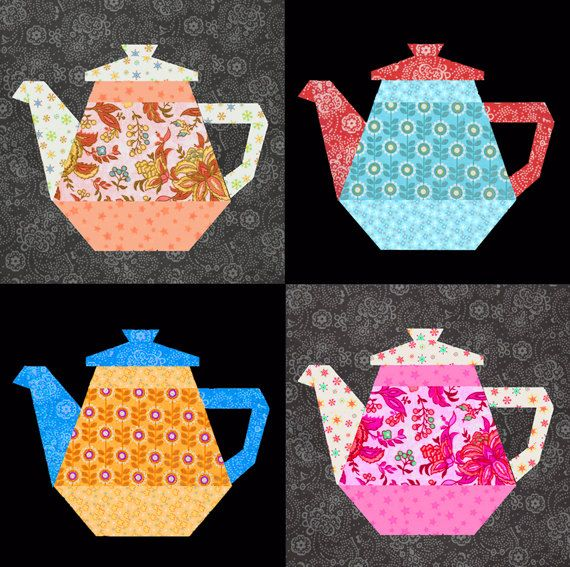 Tea Pot quilt block paper pieced quilt pattern PDF pattern