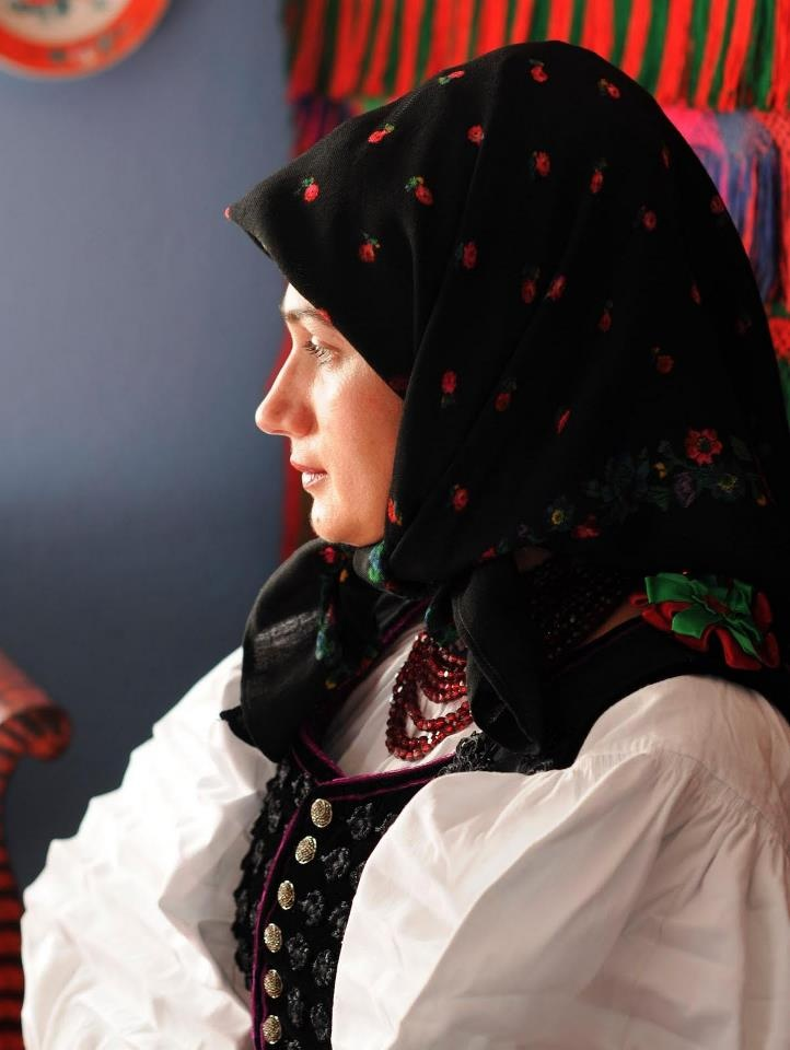 Europe | Portrait of a woman wearing traditional clothes and headscarf, Szék, Romania #kerchief