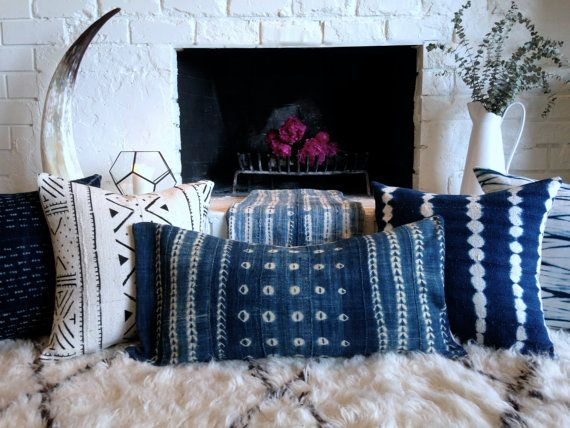 Leather Sleeper Sofa Items similar to Authentic African Indigo Cloth Pillow Cover Mermaid with Raw Silk Backing Exposed Gold Zipper Vintage Textile Mud Cloth on Etsy