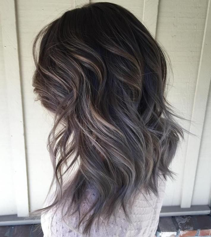 Brown Layered Hairstyle With Gray Ombre