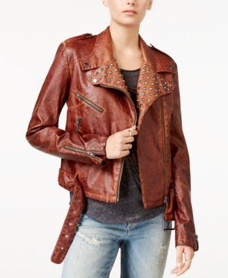 WILLIAM RAST Kate Embellished Faux-Leather Moto Jacket | macys.com